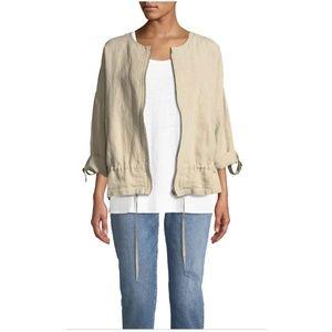 Eileen Fisher Organic Linen Roundneck Zip Jacket